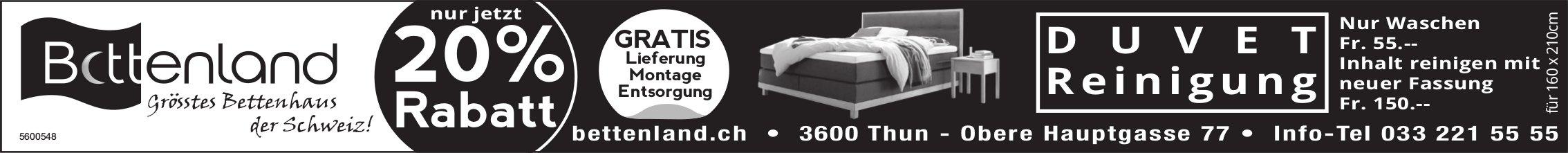 Bettenland, grösstes Bettenhaus der Schweiz - Nur jetzt 20% Rabatt