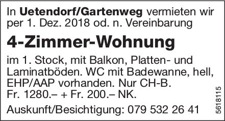 4-Zimmer-Wohnung in Uetendorf/Gartenweg zu vermieten