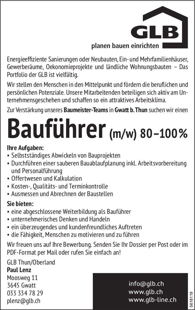Bauführer (m/w) 80–100%, GLB Thun/Oberland, Gwatt b. Thun, gesucht