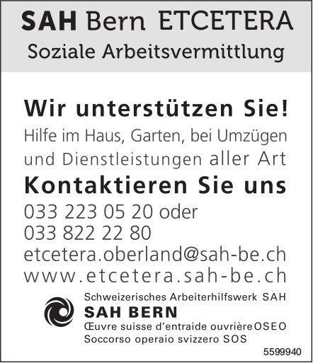 SAH Bern ETCETERA, Soziale Arbeitsvermittlung - Wir unterstützen Sie!