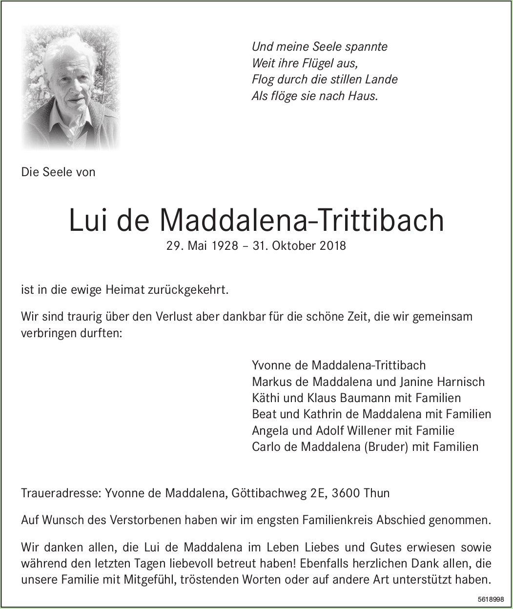 de Maddalena-Trittibach Lui, Oktober 2018 / TA