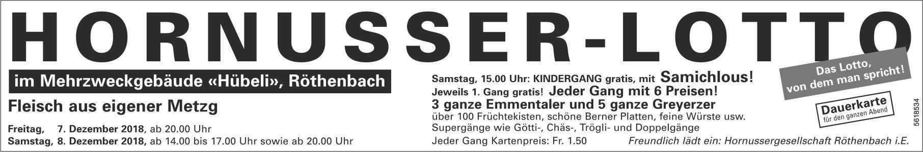 HORNUSSER-LOTTO im Mehrzweckgebäude «Hübeli», Röthenbach, 7. + 8. Dezember