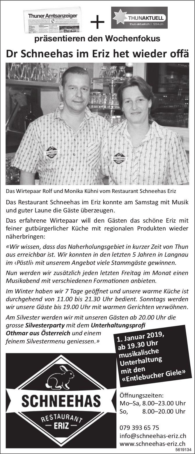 RESTAURANT SCHNEEHAS - Dr Schneehas im Eriz het wieder offä
