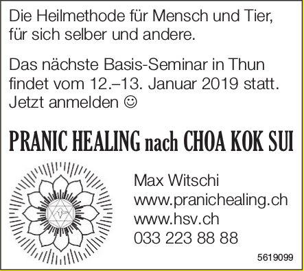 PRANIC HEALING nach CHOA KOK SUI: Nächste Basis-Seminar in Thun 12.-13. Januar