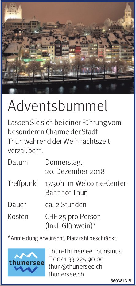 Adventsbummel, 20. Dezember, Welcome-Center, Thun