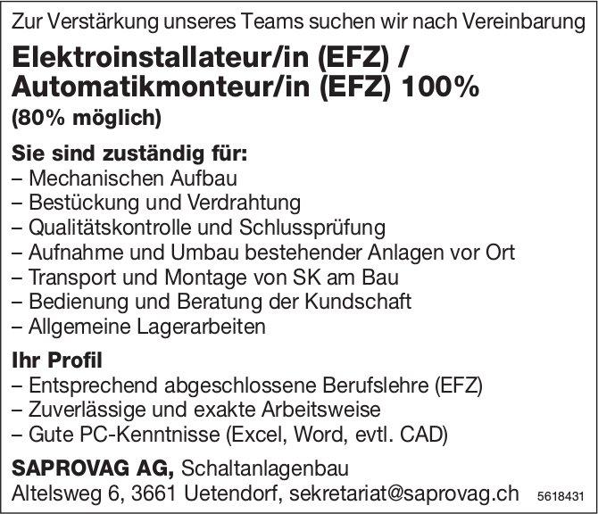 Elektroinstallateur/in (EFZ) / Automatikmonteur/in (EFZ) 100%, SAPROVAG AG, Uetendorf, gesucht