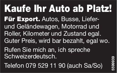 Kaufe Ihr Auto ab Platz! Für Export