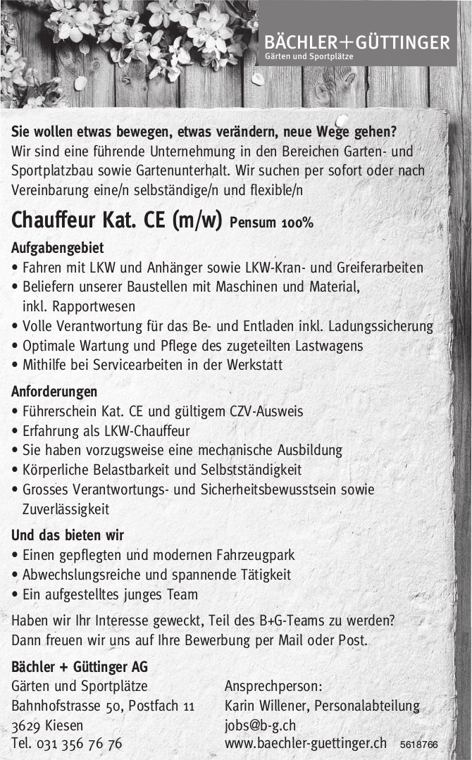 Chauffeur Kat. CE (m/w) Pensum 100%, Bächler + Güttinger AG, Kiesen, gesucht