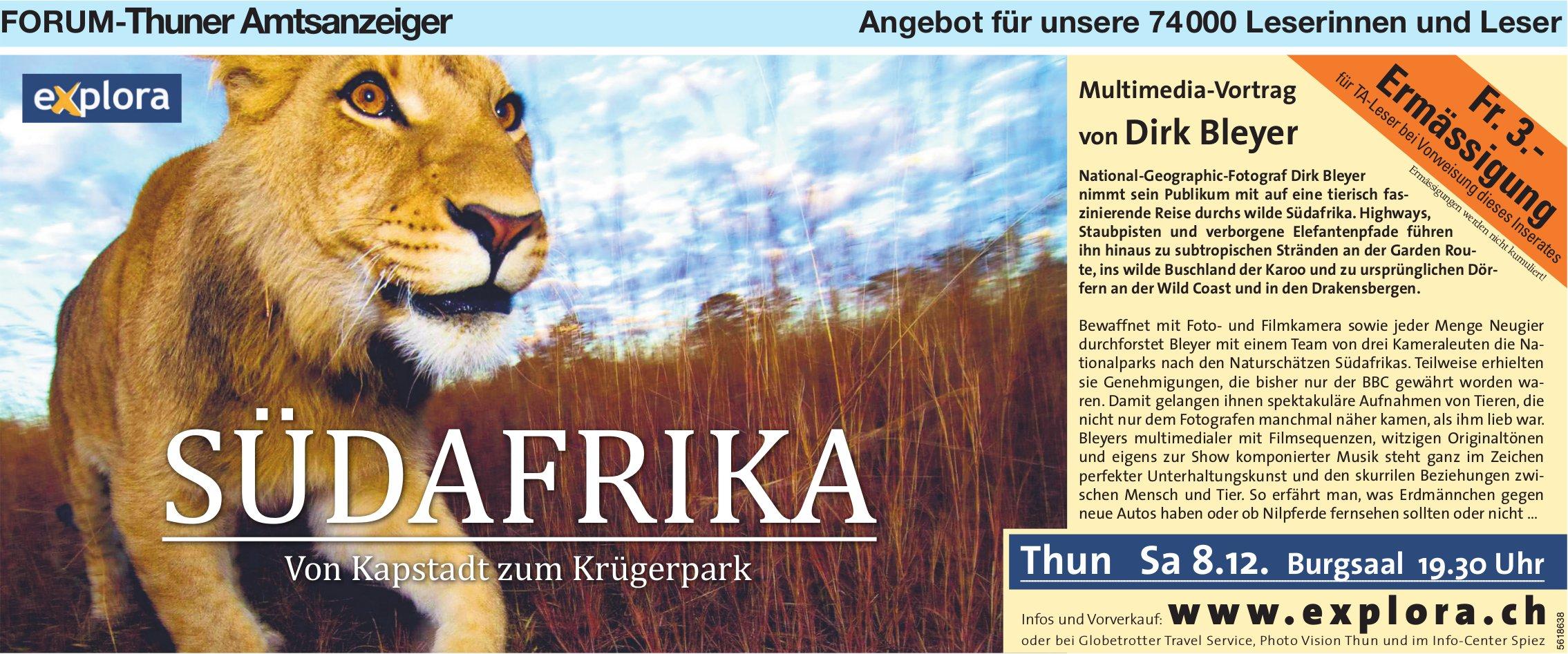 Forum-Thuner Amtsanzeiger - Südafrika: Multimedia-Vortrag von Dirk Bleyer am 8. Dezember