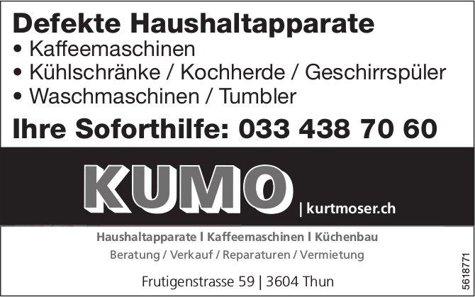 KUMO Kurt Moser, Thun - Defekte Haushaltapparate