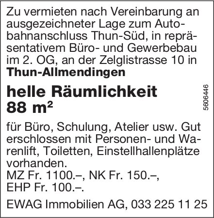 Helle Räumlichkeit 88 m2, in Thun-Allmendingen zu vermieten