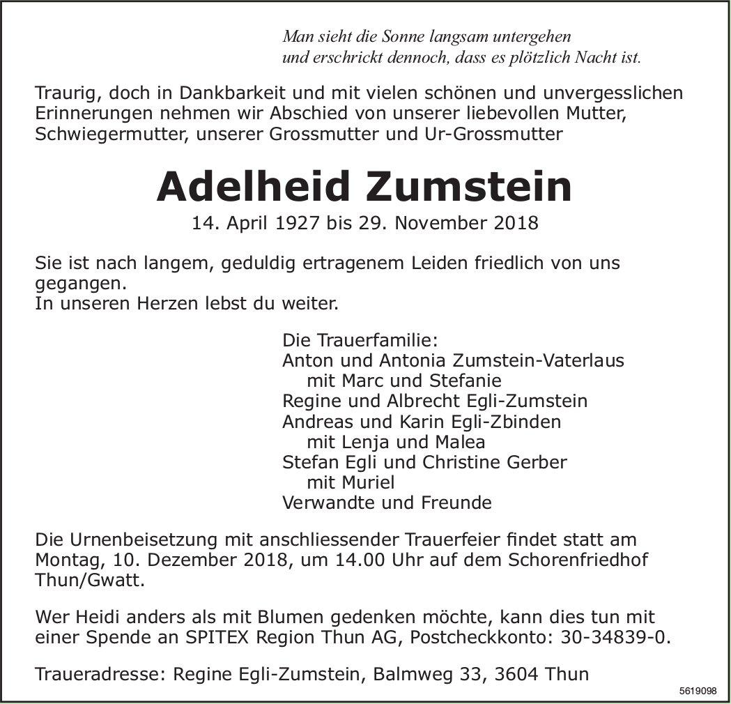 Zumstein Adelheid, November 2018 / TA