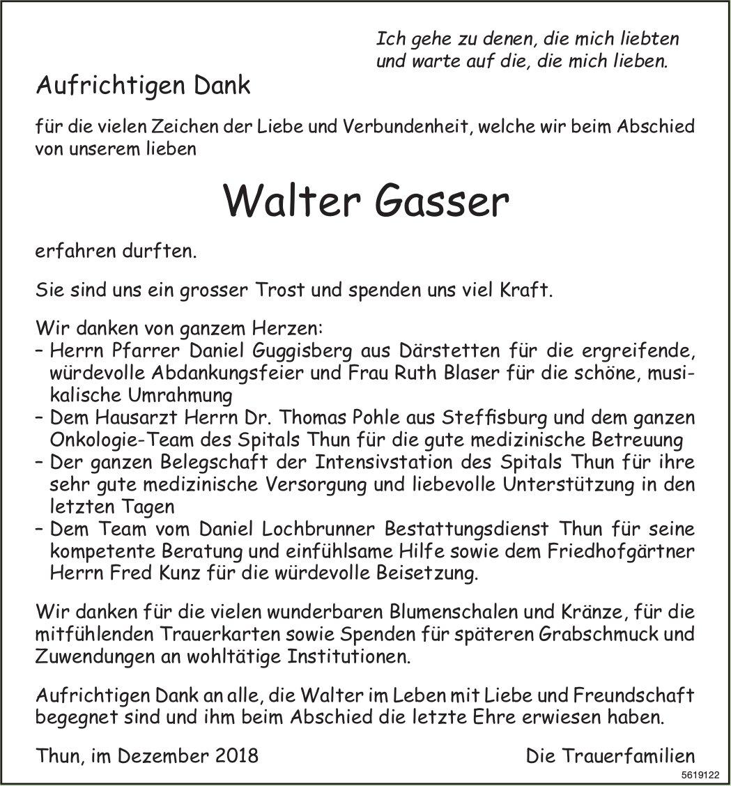 Gasser Walter, im Dezember 2018 / DS