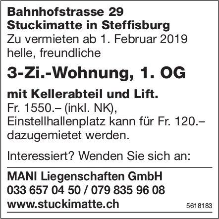 3-Zi.-Wohnung, 1. OG in Steffisburg zu vermieten