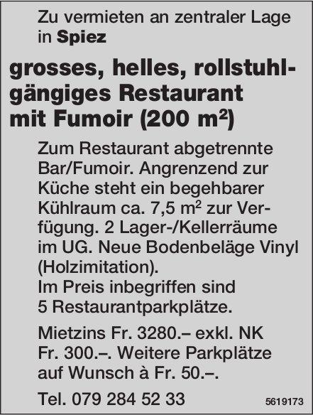 Grosses, helles, rollstuhl- gängiges Restaurant mit Fumoir (200 m2) in Spiez zu vermieten