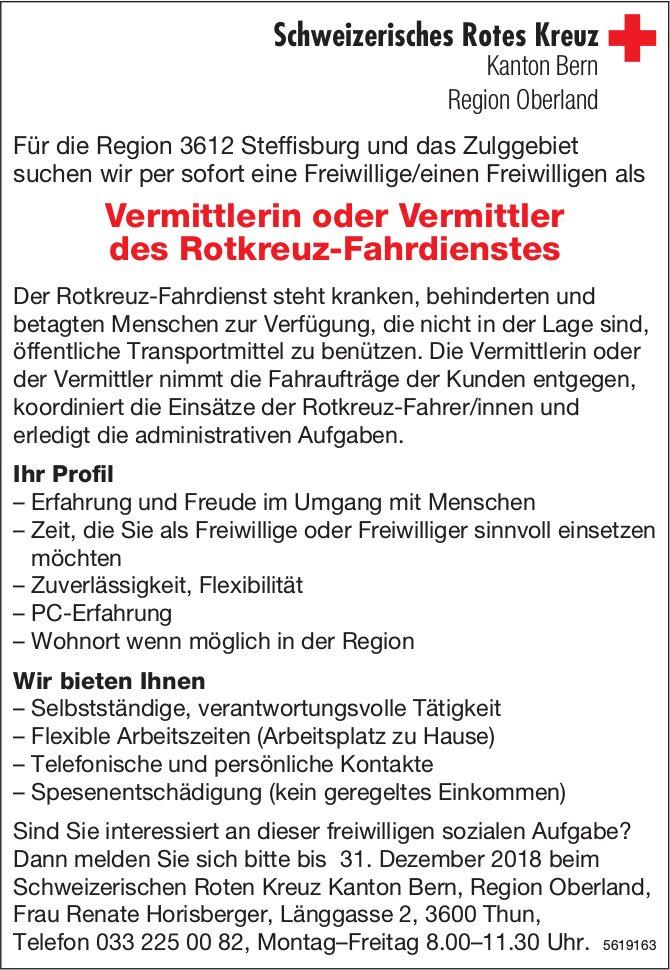 Vermittlerin oder Vermittler des Rotkreuz-Fahrdienstes, Schweizerisches Rotes Kreuz, Kanton Bern