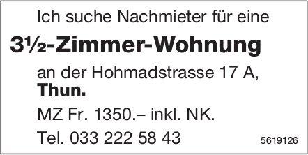 Nachmieter für 3½-Zimmer-Wohnung in Thun gesucht