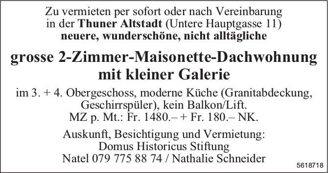 Grosse 2-Zimmer-Maisonette-Dachwohnung mit kleiner Galerie in der Thuner Altstadt zu vermieten