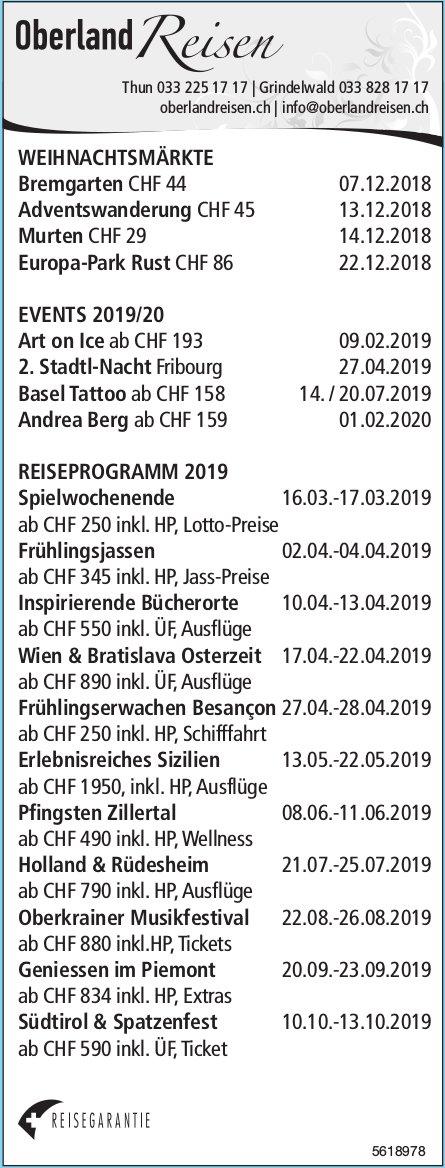 Oberland Reisen - Programm & Events