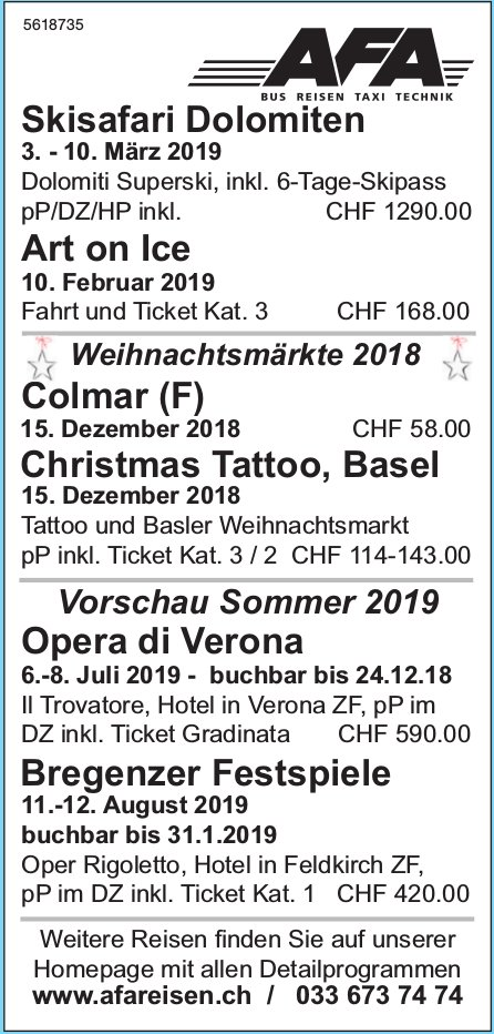 AFA Reisen - Programm & Events