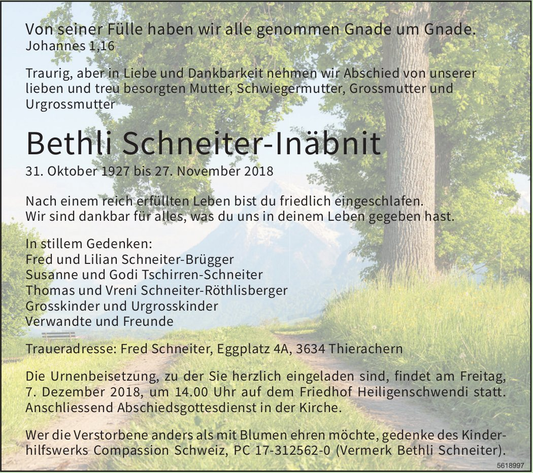 Schneiter-Inäbnit Bethli, November 2018 / TA