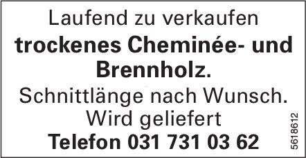 rockenes Cheminée- und Brennholz laufend zu verkaufen