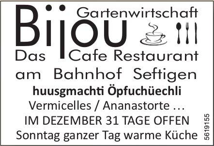 Gartenwirtschaft Bijou, das Cafe Restaurant am Bahnhof Seftigen - huusgmachti Öpfuchüechli