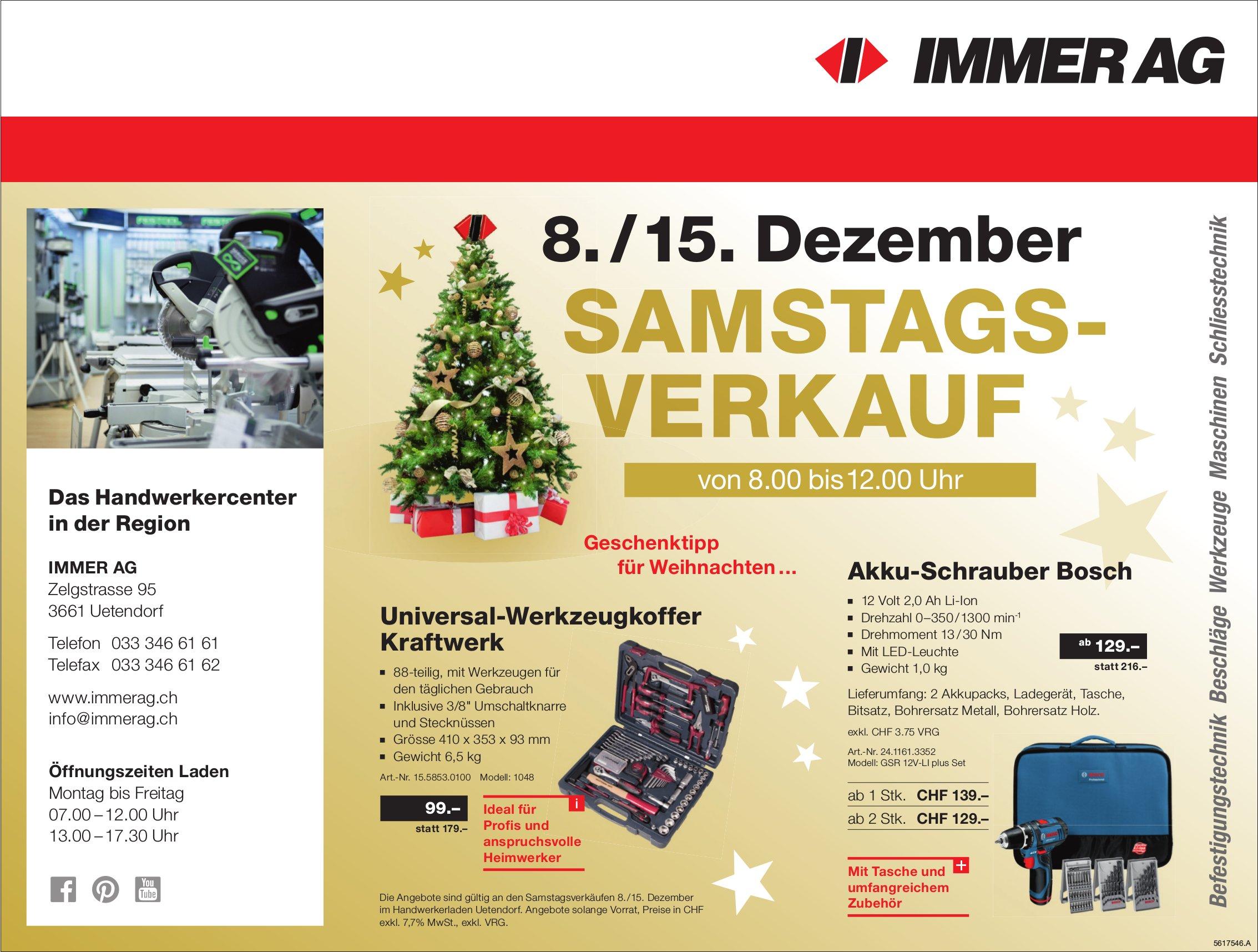 IMMER AG - 8./15. Dezember Samstagsverkauf