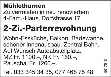 2-Zi.-Parterrewohnung in Mühlethurnen zu vermieten