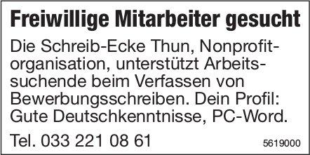 Freiwillige Mitarbeiter, Schreib-Ecke Thun, gesucht