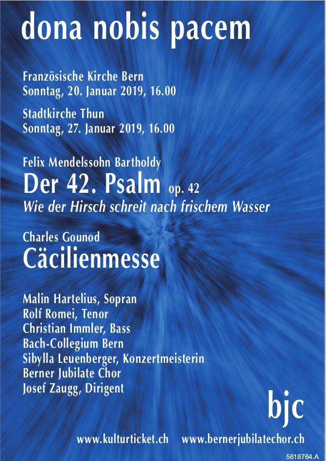 Dona nobis pacem, 20. + 27. Januar 2019, Bern & Thun