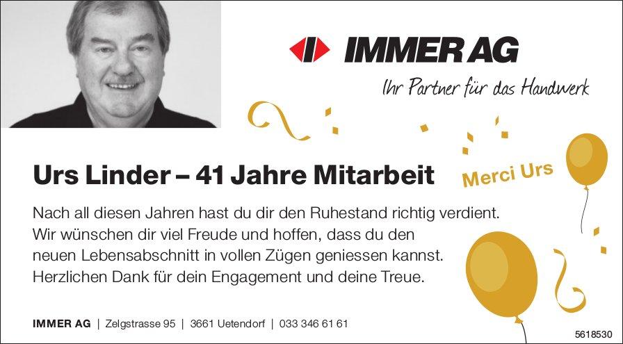 Merci Urs Linder – 41 Jahre Mitarbeit - IMMER AG, Uetendorf