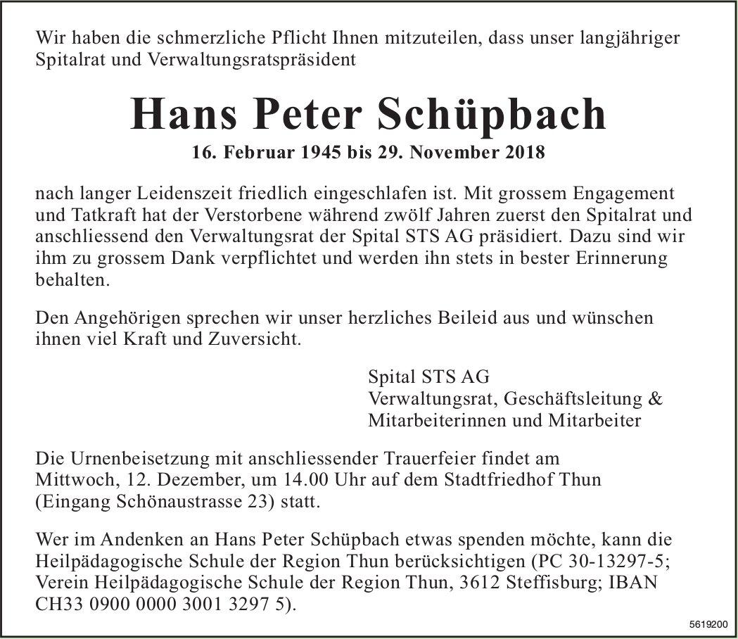 Schüpbach Hans Peter, November 2018 / TA