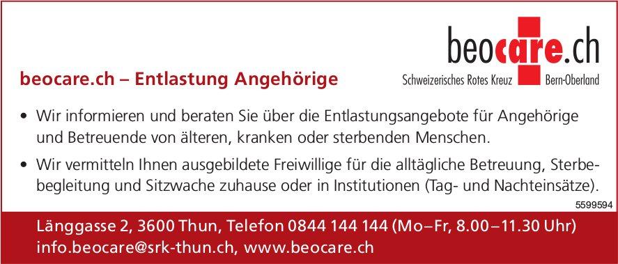 Schweizerisches Rotes Kreuz - beocare.ch, Entlastung Angehörige