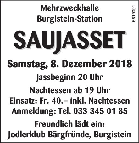 Jodlerklub Bärgfründe, Burgistein - SAUJASSET am 8. Dezember