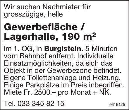 Nachmieter für Gewerbefläche / Lagerhalle, 190 m2 in Burgistein gesucht