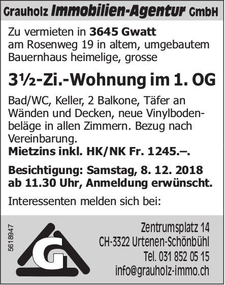 3½-Zi.-Wohnung im 1. OG in Gwatt zu vermieten / Besichtigung am 8. Dez.