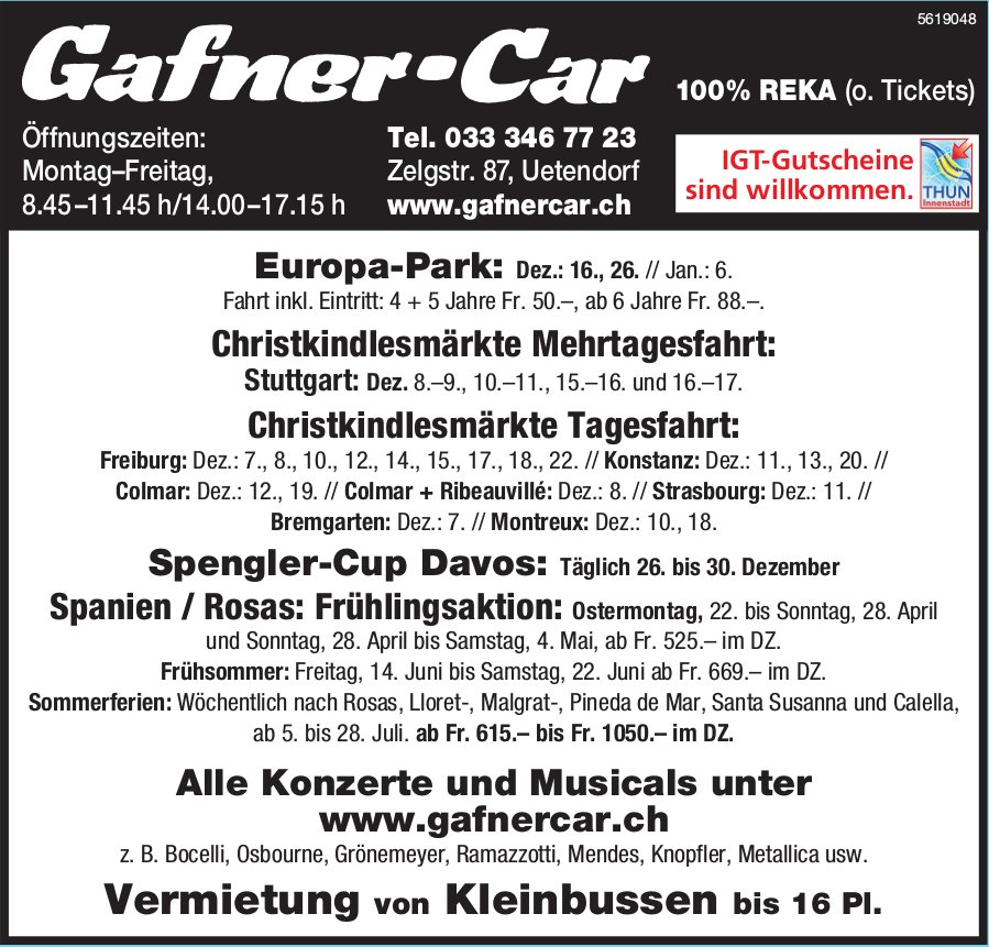 Gafner-Car - Programm & Events