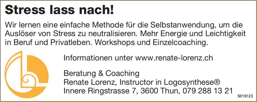 Stress lass nach! Workshops und Einzelcoaching