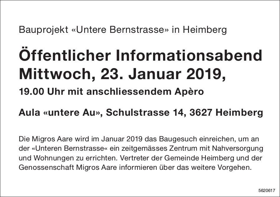 Bauprojekt «Untere Bernstrasse» in Heimberg: Öffentlicher Informationsabend am 23. Januar