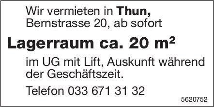 Lagerraum ca. 20 m2 in Thun zu vermieten