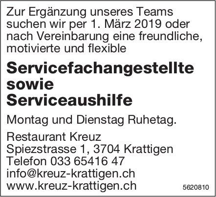 Servicefachangestellte sowie Serviceaushilfe, Restaurant Kreuz, Krattigen, gesucht