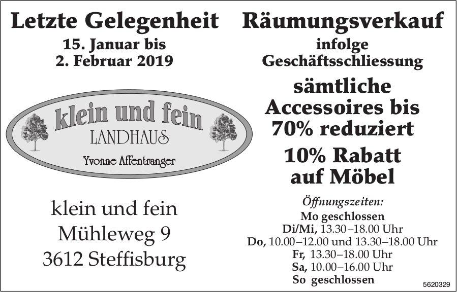 Klein und fein Landhaus - Letzte Gelegenheit Räumungsverkauf, 15. Januar bis 2. Februar