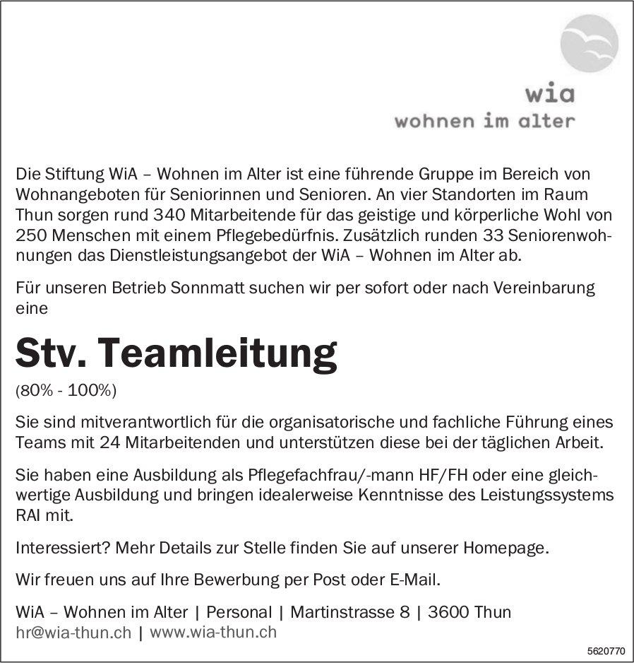 Stv. Teamleitung (80% - 100%), WiA - Wohnen im Alter, Thun, gesucht