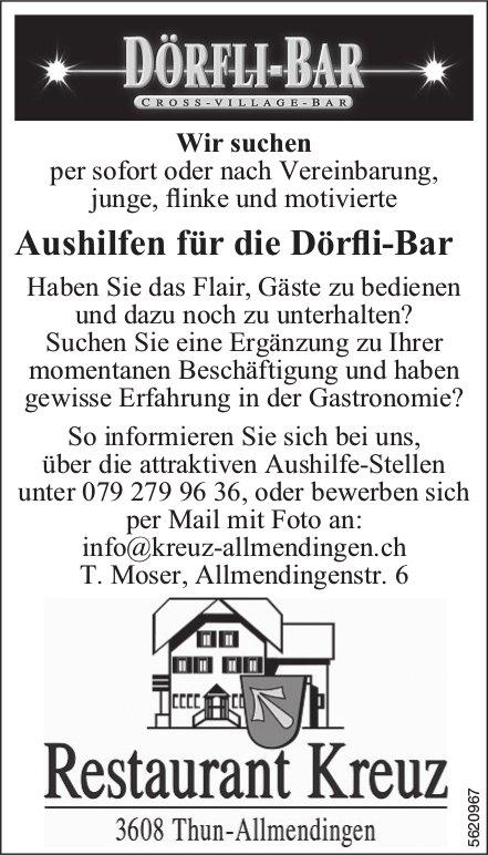 Aushilfen für die Dörfli-Bar, Restaurant Kreuz, Thun-Allmendingen, gesucht