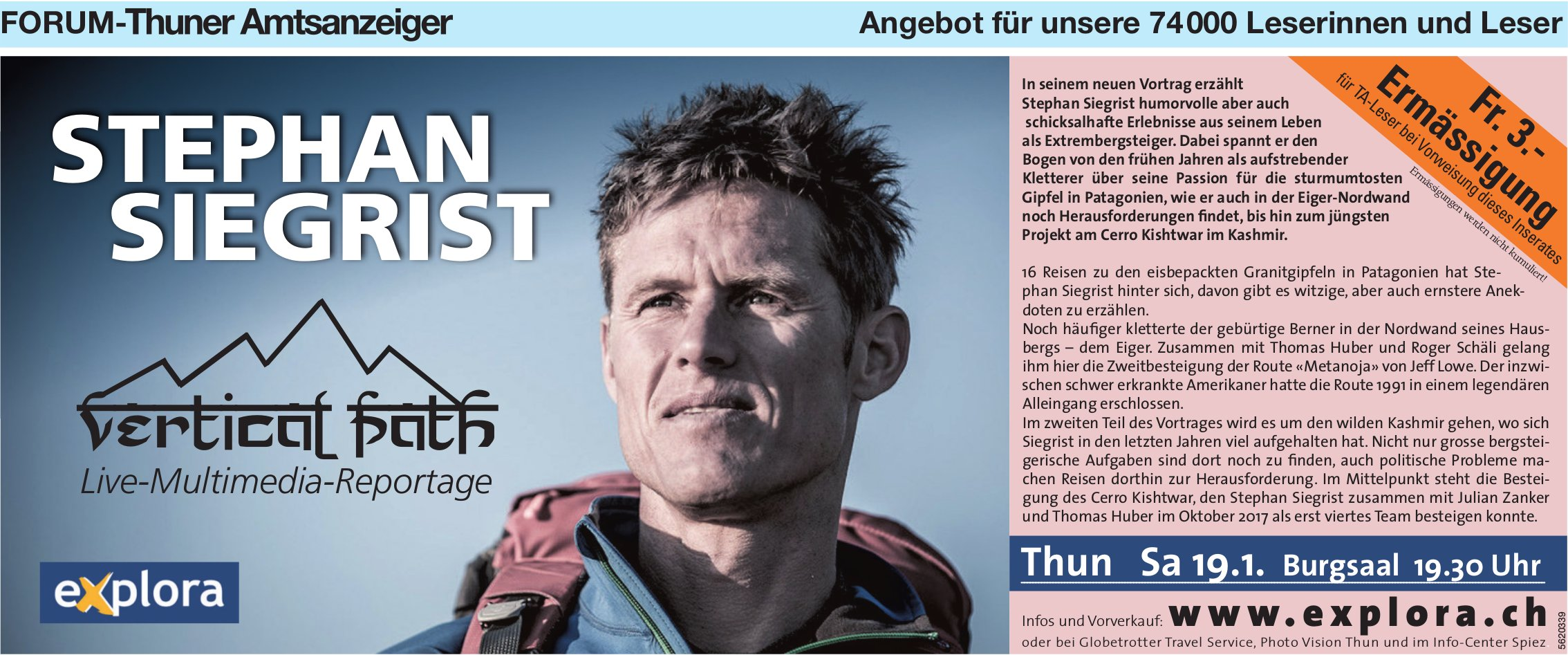 "Forum-Thuner Amtsazeiger - Stephan Siegrist: ""Vertical Path"", Live-Multimedia-Reportage am 19. Jan."