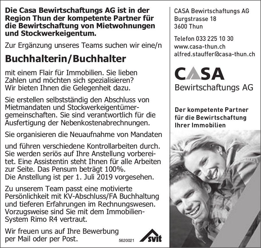 Buchhalterin/Buchhalter, Casa Bewirtschaftungs AG, Region Thun, gesucht