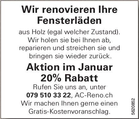 AC-Reno.ch - Wir renovieren Ihre Fensterläden: Aktion im Januar 20% Rabatt
