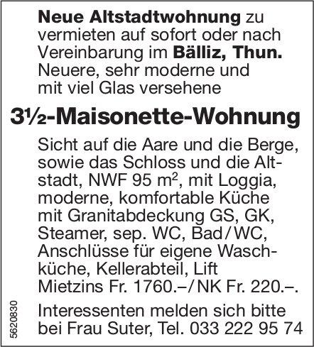 3½-Maisonette-Wohnung im Bälliz, Thun, zu vermieten