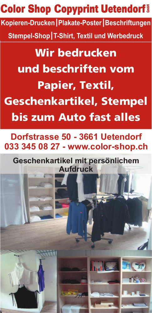 Color Shop Copyprint Uetendorf - Wir bedrucken und beschriften vom Papier bis zum Auto, fast alles
